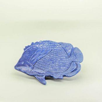 Prato Peixe Cerâmica Azul Marinho