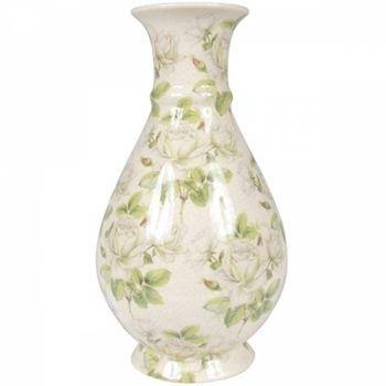 Vaso Garrafa Verde Flores Bege