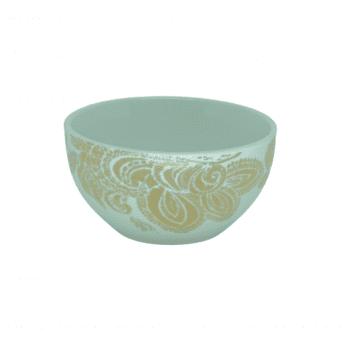 Bowl Arabesco Branco e Dourado