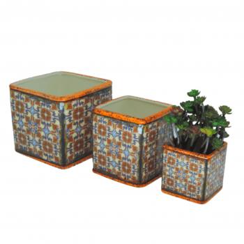Trio Vaso Rustico Azulejo Laranja