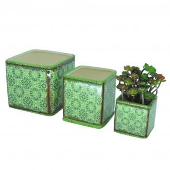 Trio Vaso Arabesco Verde