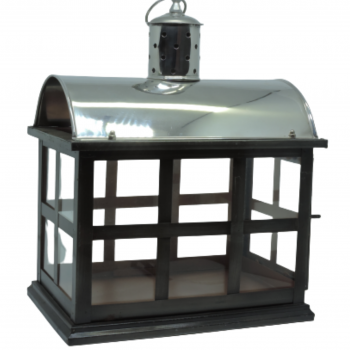 Lanterna Casinha Vidro e Ferro