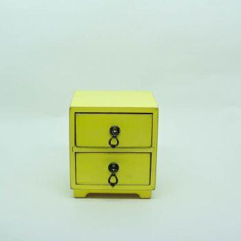 Mini Comoda Amarela 2 Gavetas