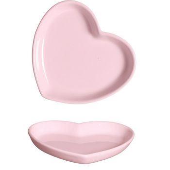 Prato Coração Fundo Sil Rosa Candy