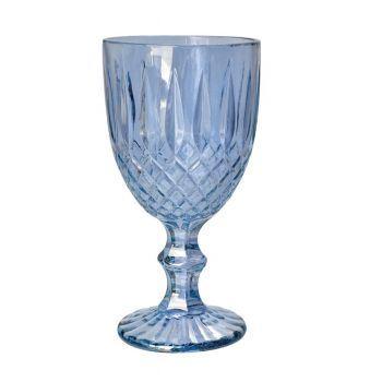 Taça Vidro Trabalhada Água Azul Celeste 300ml