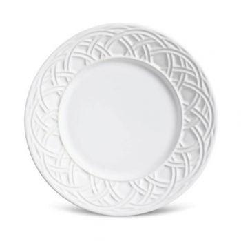 Prato Sobremesa Cerâmica Argolas Branco