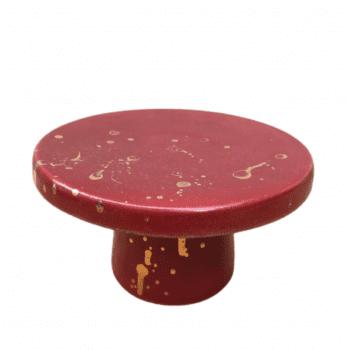 Porta Doce Bia Exclusiva Abstrato Vermelho Pingo Ouro M