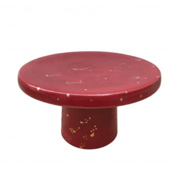 Porta Doce Bia Exclusiva Abstrato Vermelho Pingo Ouro P