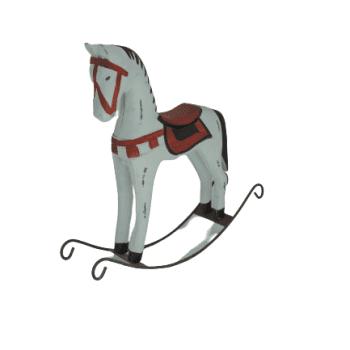 Cavalinho Balanço Branco e Vermelho Madeira